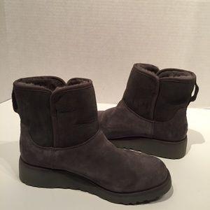 UGG Kristen Grey Mini Wedge Suede Boot